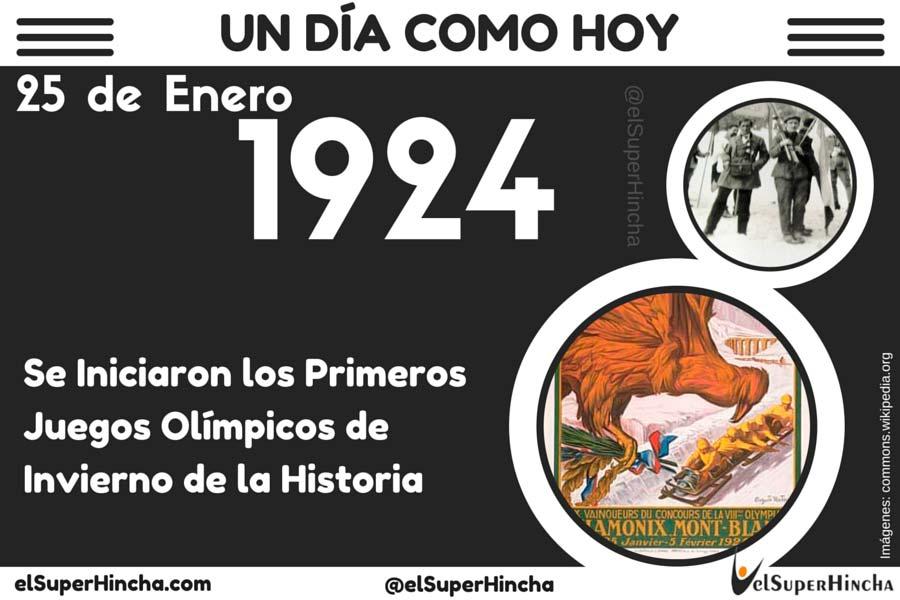 El 25 de Enero de 1924 se iniciaron los Primeros Juegos Olímpicos de la Historia