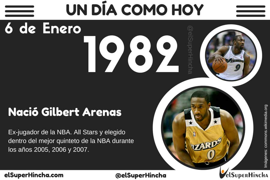 Gilbert Arenas nació el 6 de enero de 1982
