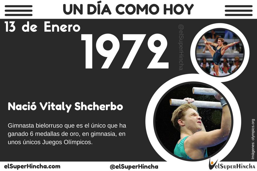Vitaly Shcherbo, gimnasta bielorruso, nació un 13 de enero