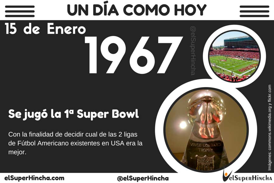 La primera Super Bowl de la Historia se celebró el 15 de enero de 1967