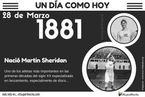 Martin Sheridan, uno de los mejores atletas de su época nació un 28 de marzo