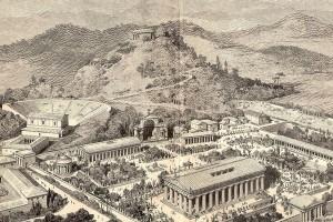 Representación de la Antigua Ciudad de Olimpia, Grecia donde se celebraban los Juegos Olímpicos Antiguos