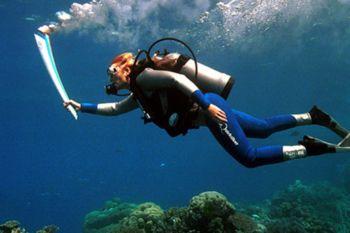 Buzo llevando la Antorcha Olímpica por el Arrecife de Coral Australiano