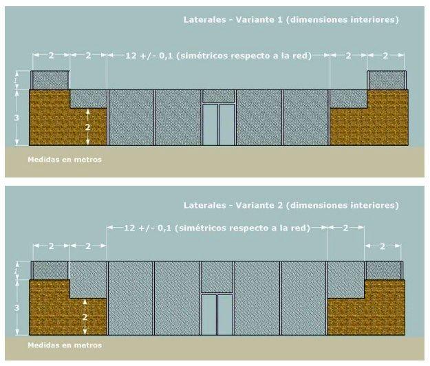 Medidas de la pista de pádel: Cerramientos Laterales