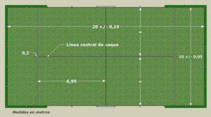 Dimensiones de la pista de pádel y líneas