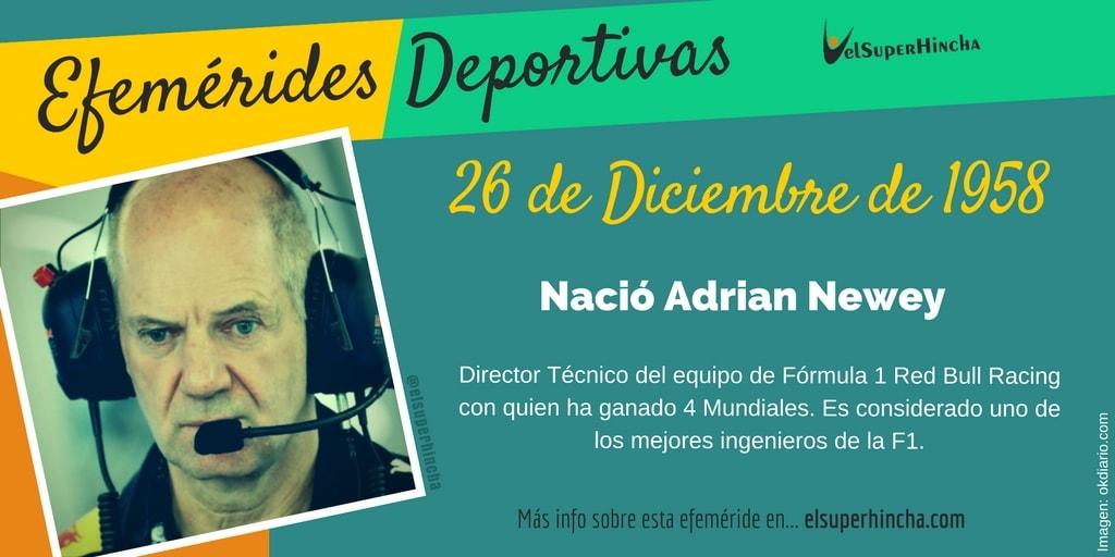 Efemérides del 26 de diciembre: Nació Adrian Newey, ingeniero de F1