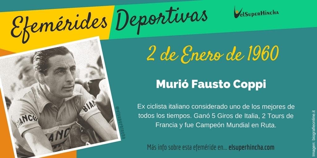 Efemérides 2 de enero: Murió Fausto Coppi, ciclista italiano