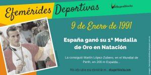 Efeméride del 9 de Enero: Primera medalla de oro española en natación