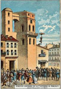 Primer salto en paracaídas registrado (Montpellier 1783)
