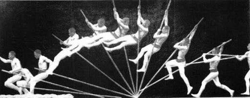 Fases del salto con garrocha en sus inicios.
