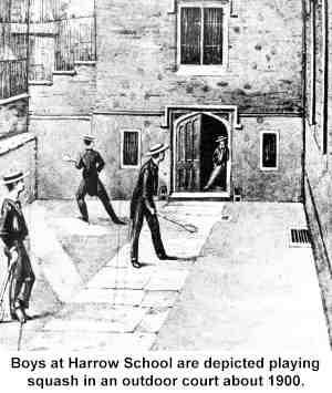 Ilustración de jóvenes jugando Squash en un patio de Harrow School