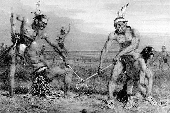 Indios Sioux durante el juego que dio origen al lacrosse
