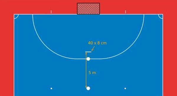 Área de la cancha de futsal